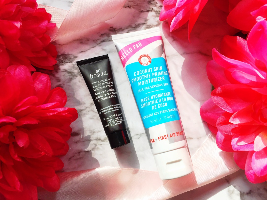 Boscia Porefecting White Charcoal Mattifying Treatment Primer + First Aid Beauty Hello FAB Coconut Skin Smoothie Priming Moisturizer