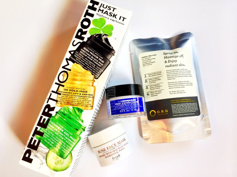 Peter Thomas Roth Just Mask It Set, Fresh Rose Face Mask, Ole Henriksen Sheer Transformation and O.R.G Mineral Peel Face