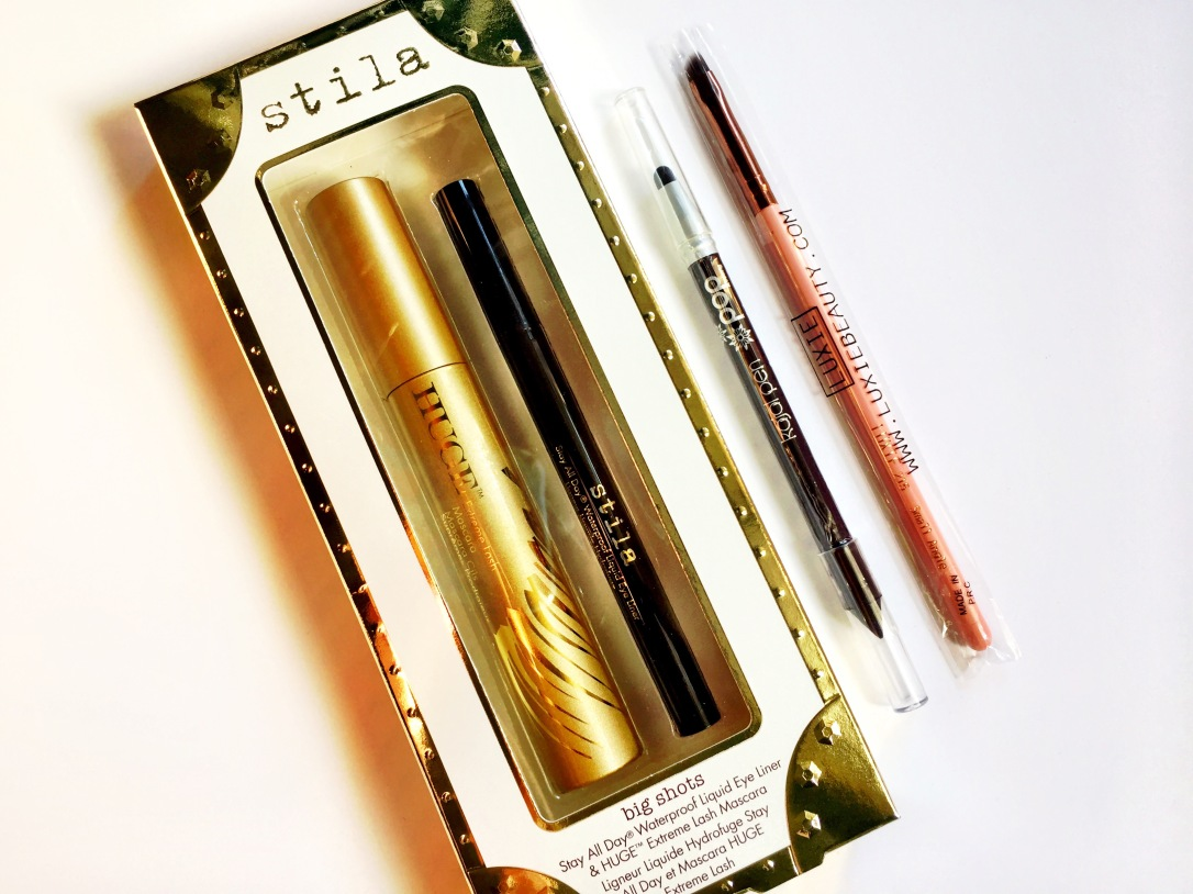 Stila Big Shots Liquid Liner & Mascara Set, Pop Beauty Kajal Pen in Inky Purple and Luxie Small Angle Brush