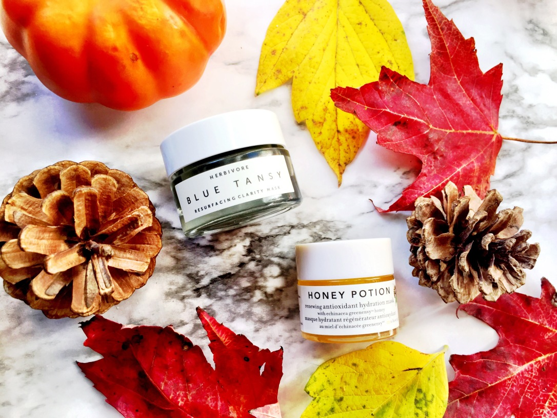 Herbivore Blue Tansy Resurfacing Clarity Mask + Farmacy Honey Potion Renewing Antioxidant Hydration Mask
