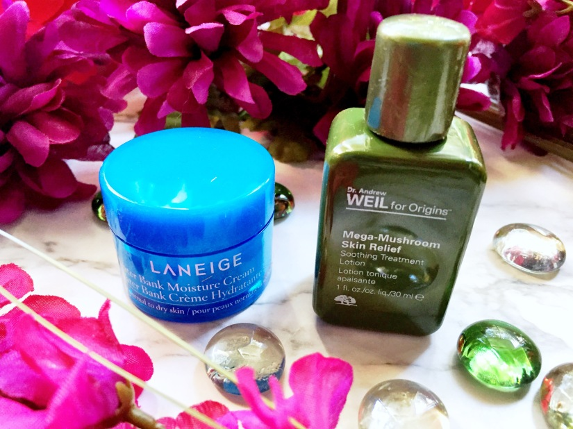 Laneige Water Bank Moisture Cream + Origins Dr. Andrew Weil Mega-Mushroom Skin Relief Soothing Treatment Lotion