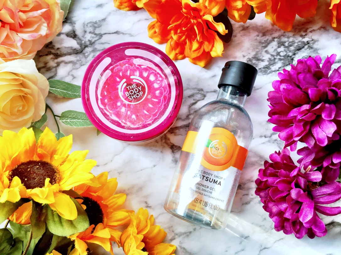 The Body Shop Early-Harvest Raspberry Exfoliating Body Scrub-Gelee + The Body Shop Satsuma Shower Gel