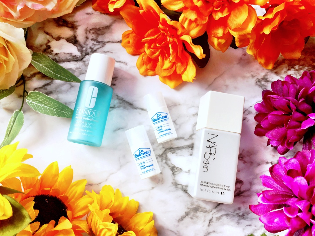 Clinique Acne Solutions Clarifying Lotion, Dr. Belmeur Clarifying Toner + Nars Skin Multi-Action Hydrating Toner