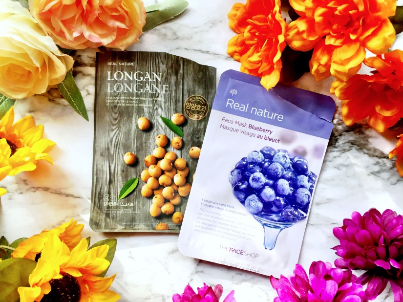 The Face Shop Real Nature Longan Face Mask + The Face Shop Real Nature Blueberry Face Mask