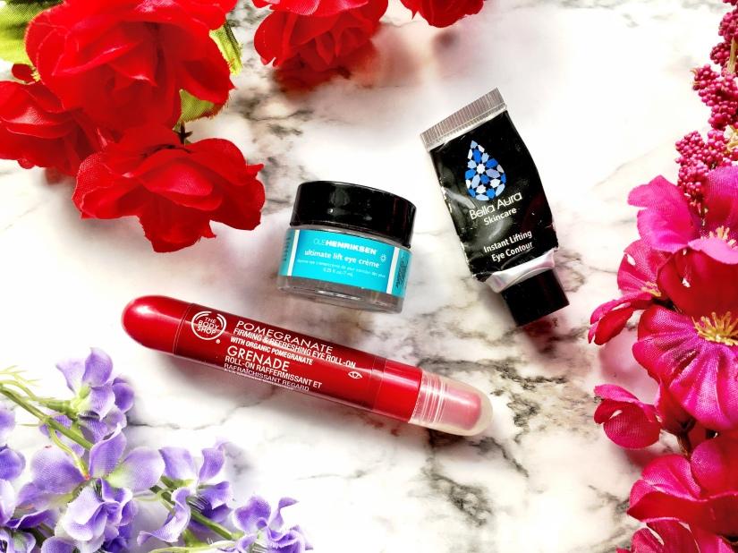 The Body Shop Pomegranate Firming & Refreshing Eye Roll-On, Ole Henriksen Ultimate Lift Eye Crème + Bella Aura Instant Lifting Eye Contour