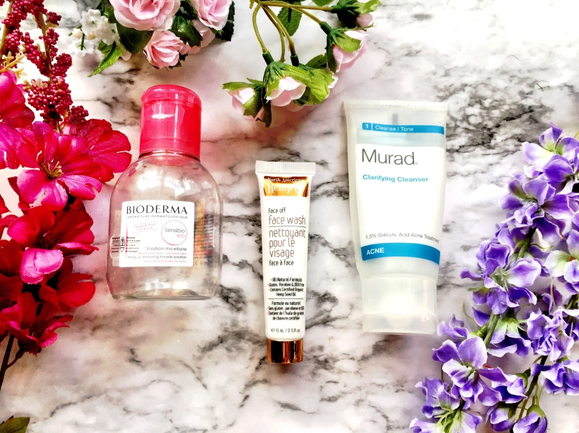 Bioderma Sensibio H2O Make-Up Removing Micelle Solution, North American Hemp Co. Face Off Face Wash + Murad Clarifying Cleanser