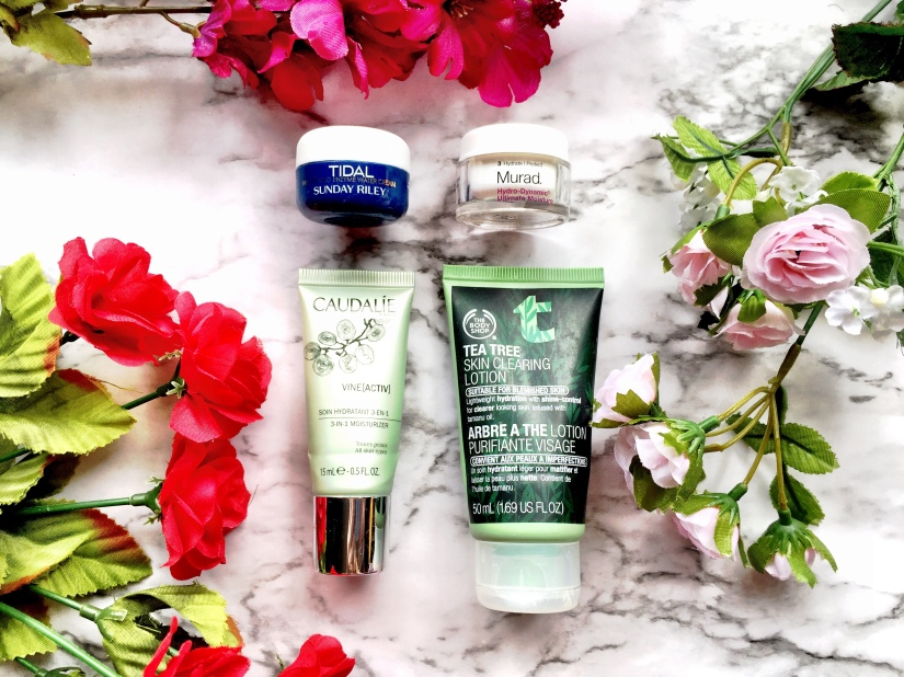 Sunday Riley Tidal Brightening Enzyme Water Cream, Murad Hydro-Dynamic Ultimate Moisture, Caudalie Vine[Activ] 3-in-1 Moisturizer + The Body Shop Tea Tree Skin Clearing Lotion