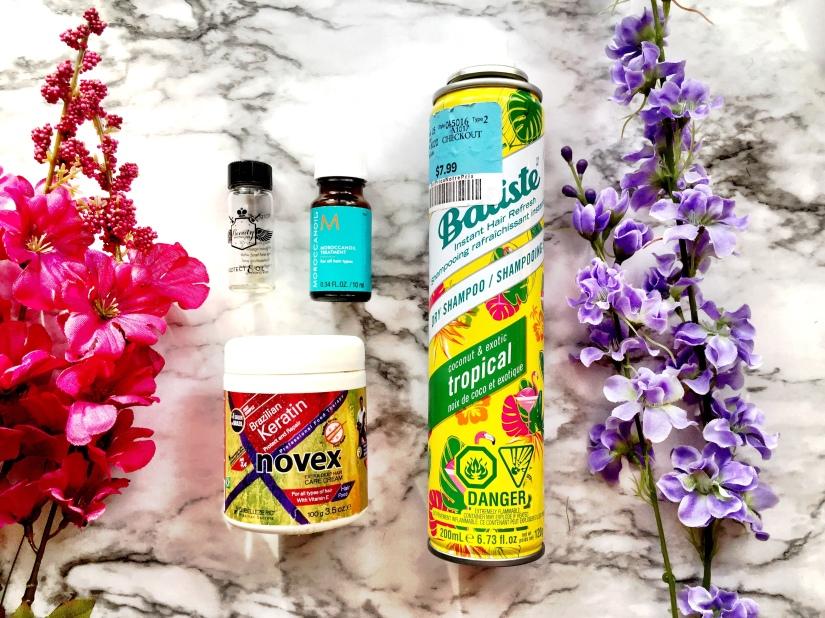 Beauty Protector Protect & Oil Argan Oil, Moroccanoil Moroccanoil Treatment, Novex Brazilian Keratin Extra Deep Hair Care Cream + Batiste Instant Hair Refresh Dry Shampoo