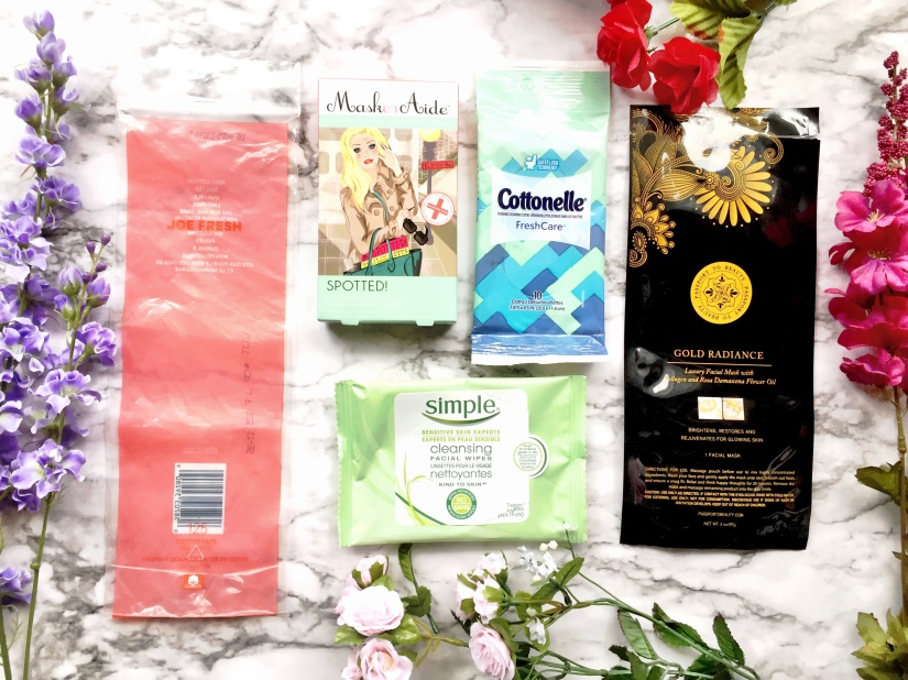 Joe Fresh 100% Cotton Cotton Pads, MaskerAide Spotted! Anti-Blemish Clear Spot Patches, Cottonelle FreshCare Flushable Cleansing Cloths, Simple Cleansing Facial Wipes + Passport to Beauty Gold Radiance Luxury Facial Mask