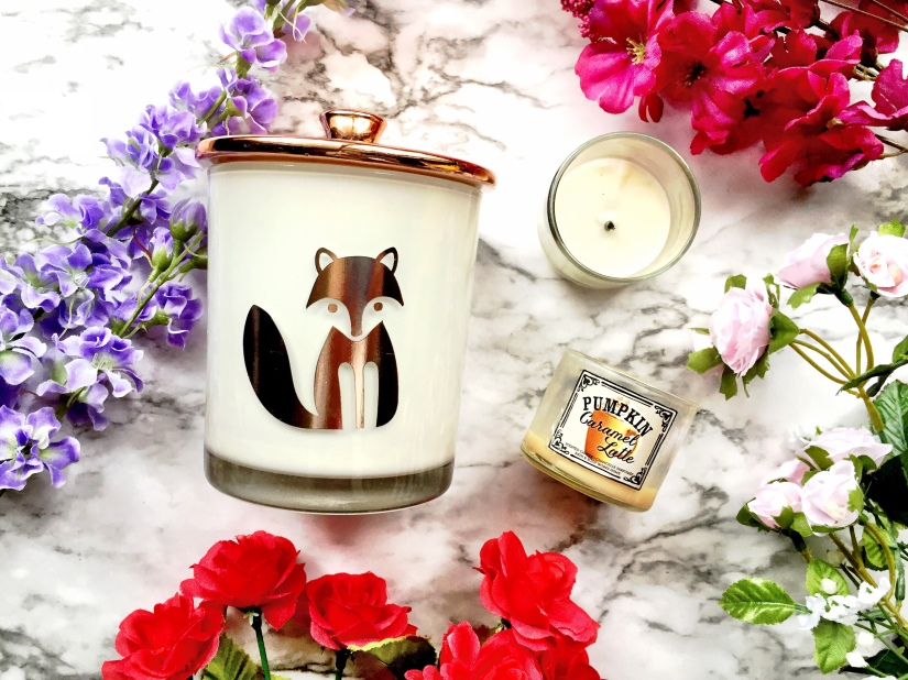 Ava & Emma Pumpkin Spice Fox Candle, Bath & Body Works Coconut Leaves + Bath & Body Works Pumpkin Caramel Latte Candles